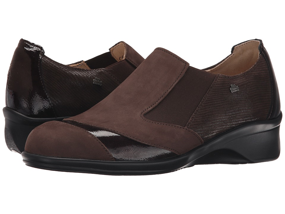 Finn Comfort - Edina (Chocolate Patagonia/Ebony Patent/Dark Brown Valencia) Women's Clog Shoes