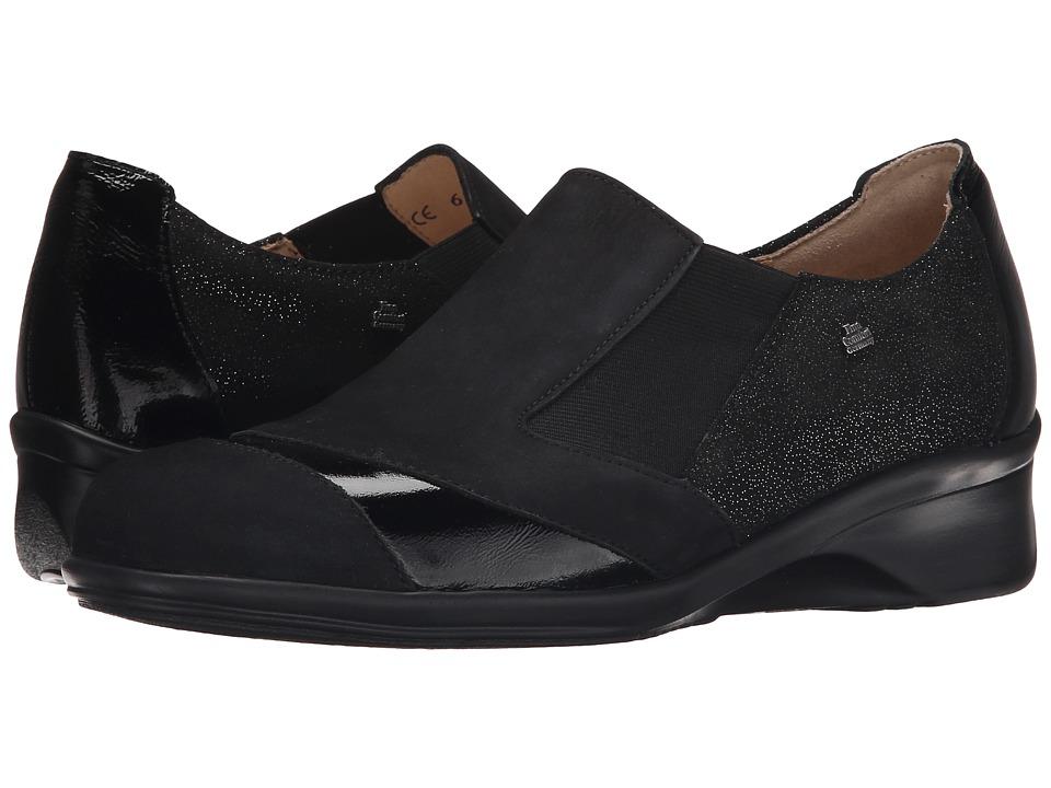 Finn Comfort - Edina (Black Nubuck/Plata Patent/Luz) Women's Clog Shoes