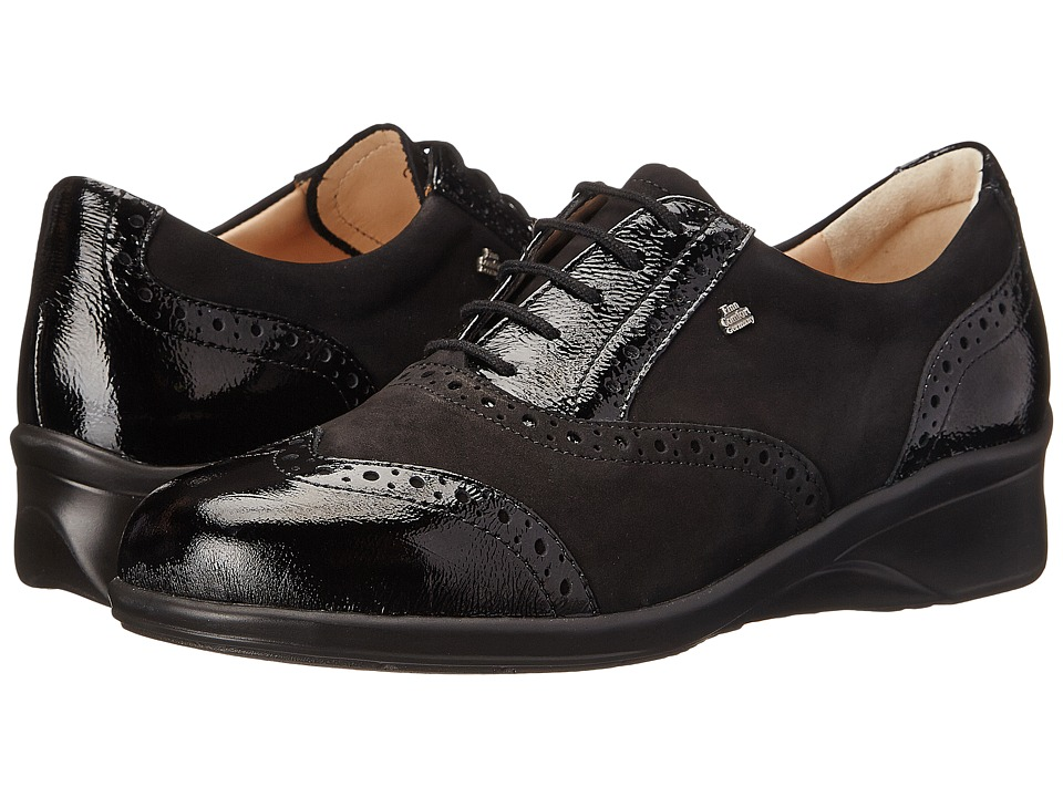 Finn Comfort - Eureka (Black Patent/Nubuk) Women's Lace up casual Shoes