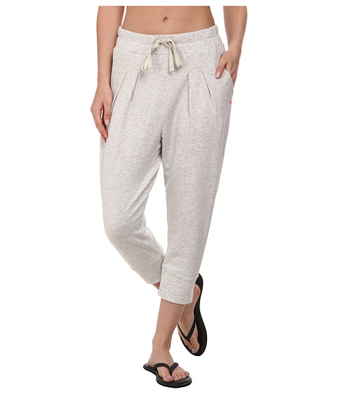 Pink Lotus - Fleece Drawstring Pants (Light Heather/Grey) Women's Workout