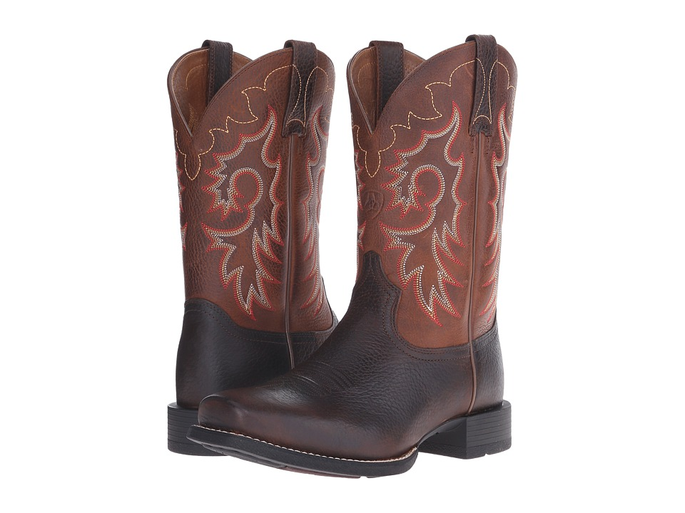 Ariat - Heritage Reinsman (Brown Oiled Rowdy/Weathered Tan) Cowboy Boots