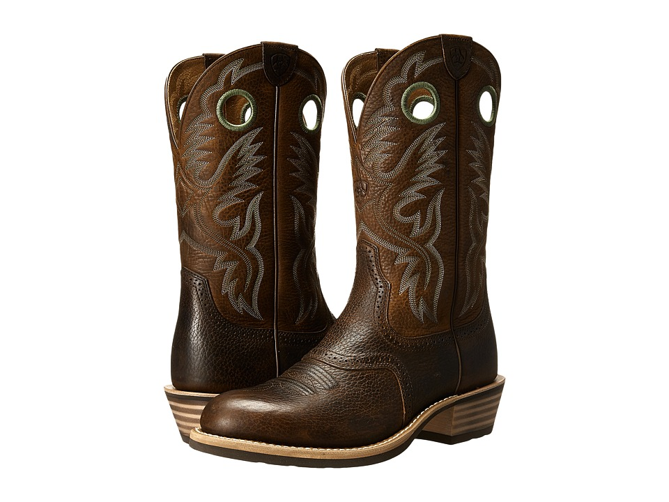 Ariat - Heritage Roughstock U Toe (Brown Oiled Rowdy) Cowboy Boots