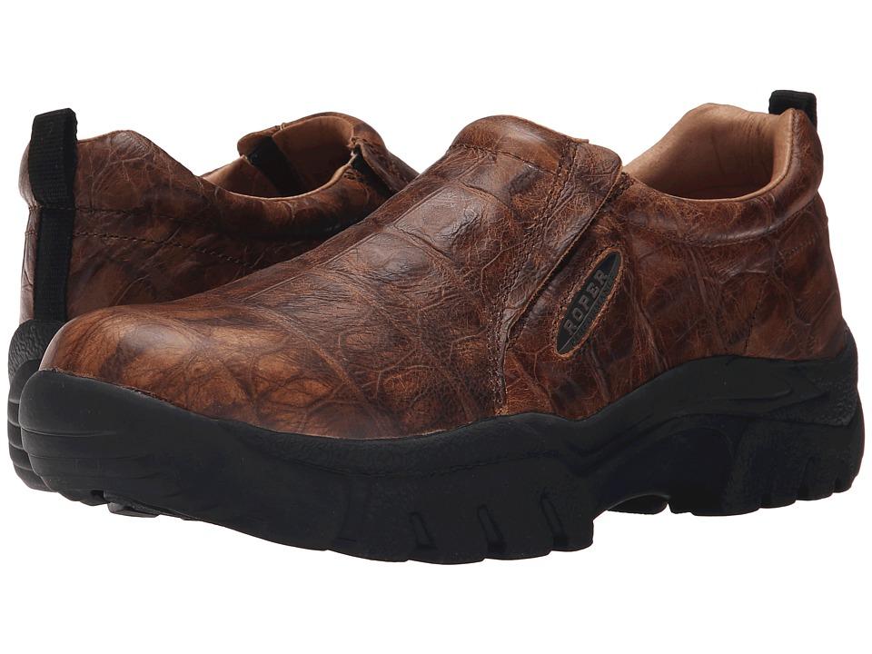 Roper - Performance Slip On (Brown Leather Faux Tortoise Embossed) Men's Slip on Shoes