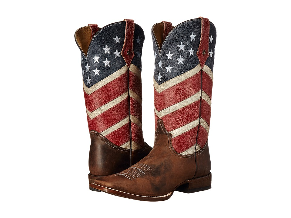 Roper - American Flag Round Toe Boot (Brown) Cowboy Boots