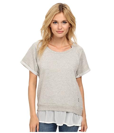 Seven7 Jeans - Short Sleeve Chiffon Sweatshirt (Light Heather Grey) Women