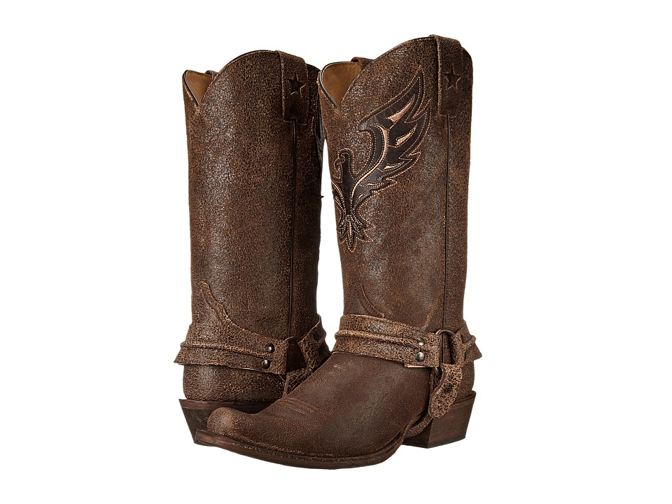 Roper - Eagle Bandit Toe Boot (Brown Distressed Leather) Cowboy Boots
