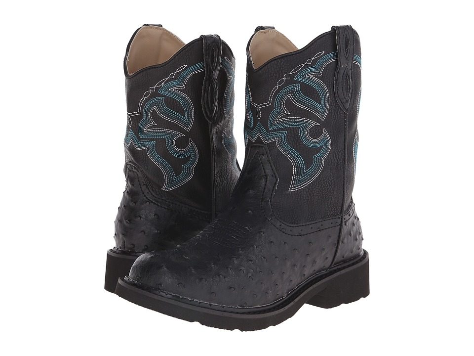 Roper - Chunk Rider (Black Faux Ostrich) Cowboy Boots