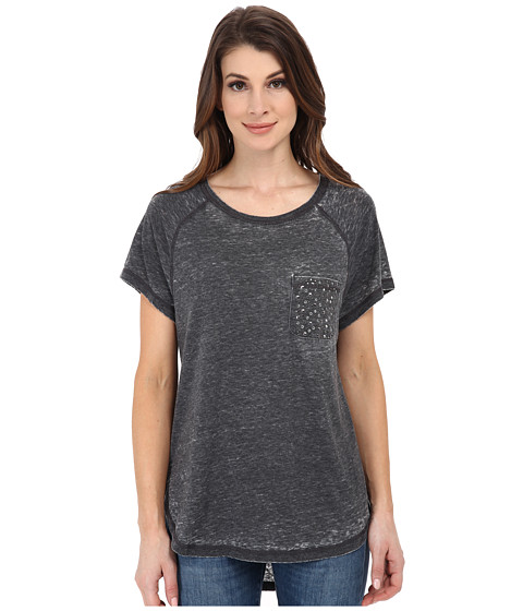 Seven7 Jeans - Burnout Raglan Tee (Black) Women's T Shirt