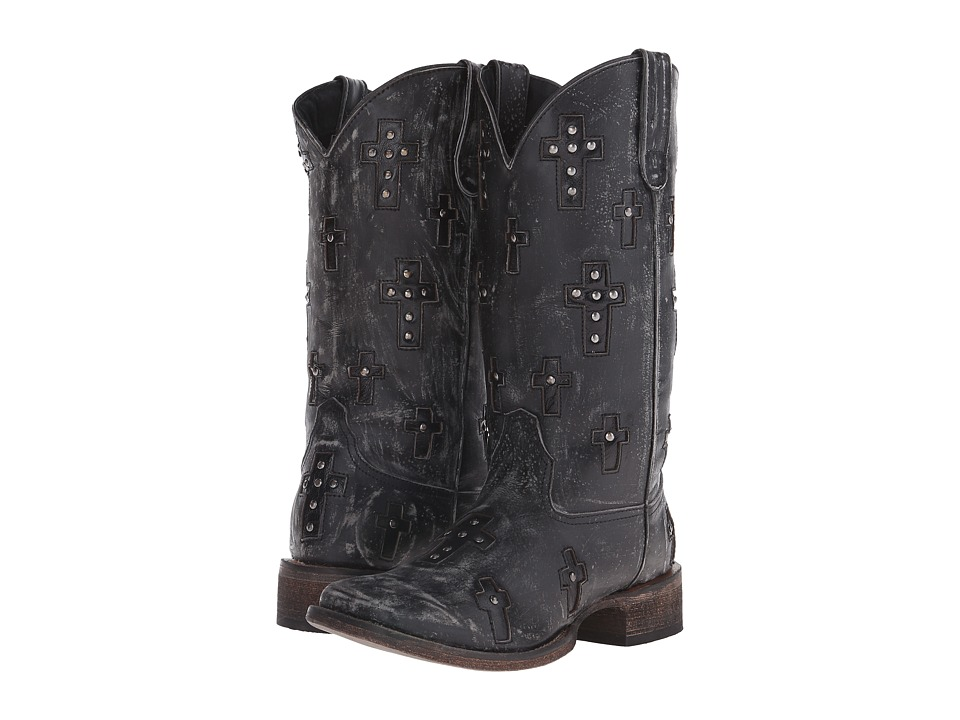 Roper Cross (Black) Cowboy Boots