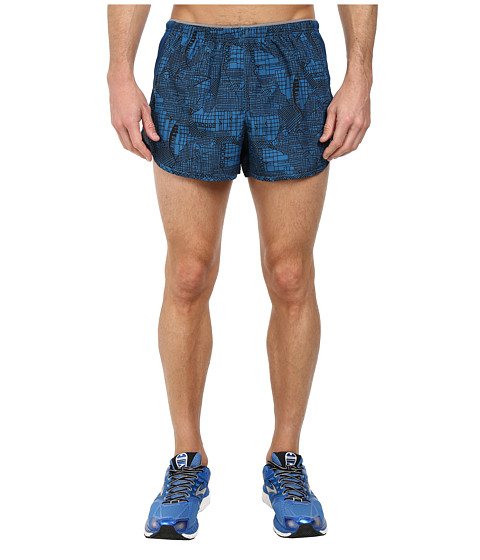 Brooks - Essential 3.5 Split Shorts (Baltic Gridlock/Poseidon) Men