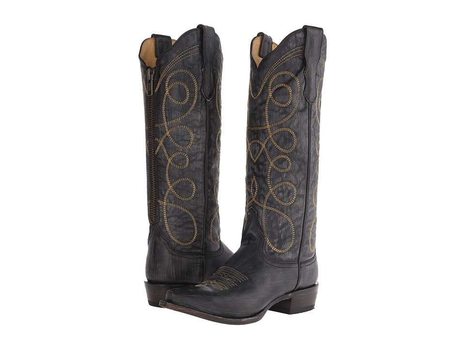 Stetson - Abigail (Black Sanded and Distressed) Women's Zip Boots