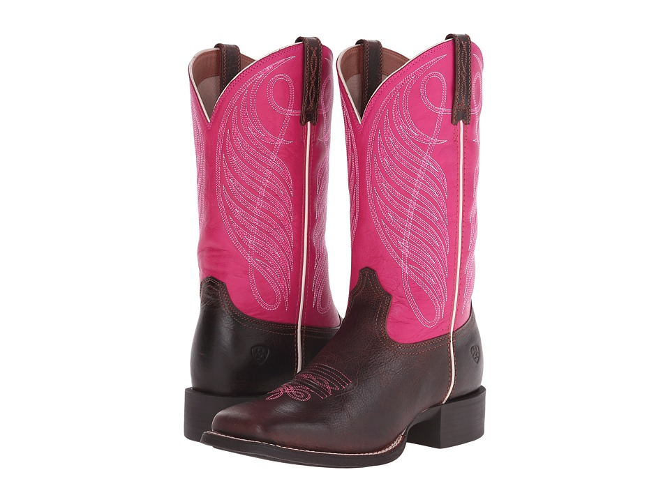 Ariat - Round Up Square Toe (Wicker/Hot Pink) Cowboy Boots