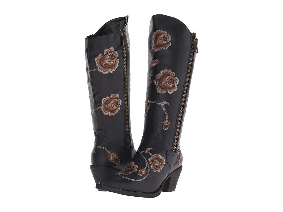 Roper - Rose (Black) Cowboy Boots