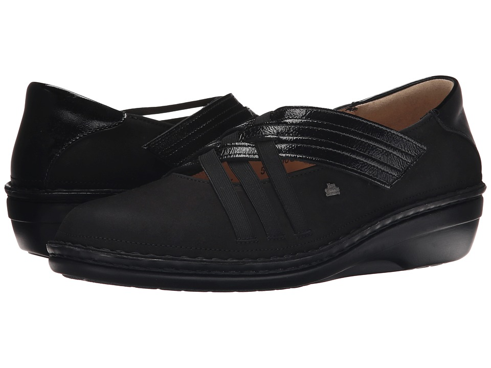 Finn Comfort - Evanston-S (Black Nubuk/Patent) Women's Shoes