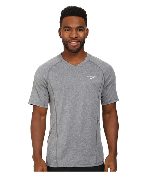 Brooks - Essential Short Sleeve Top (Anthracite) Men's Clothing