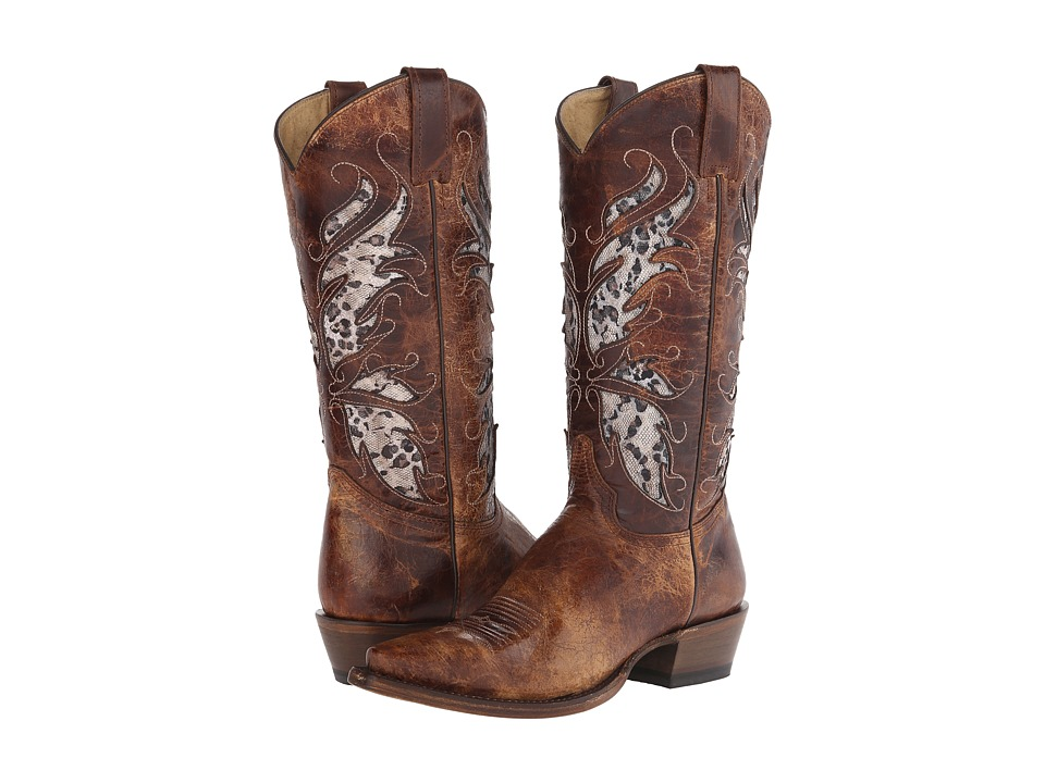 Roper - Feathers (Brown) Cowboy Boots