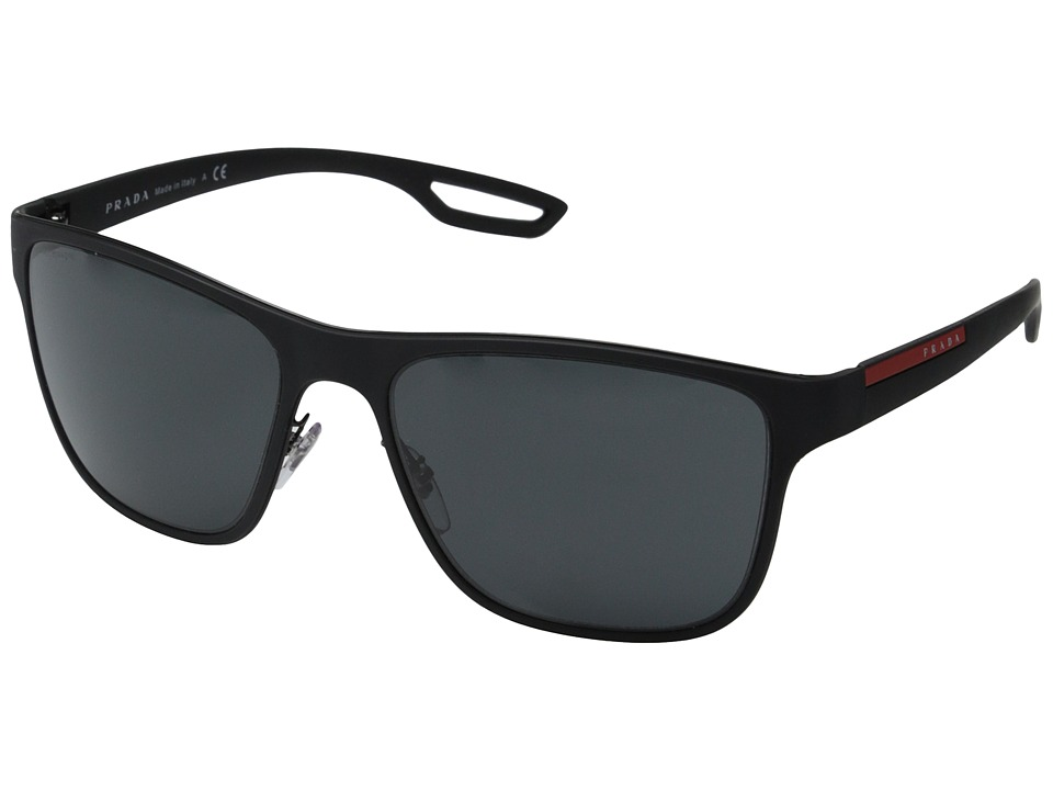 Prada Linea Rossa - PS 56QS (Black Rubber/Grey) Fashion Sunglasses