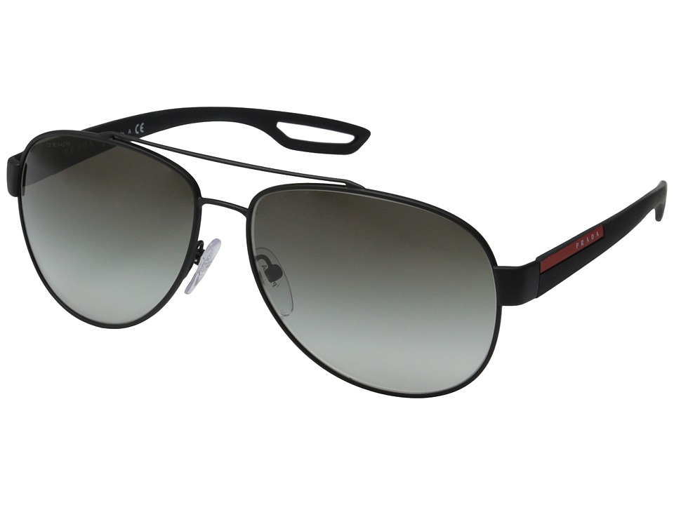 Prada Linea Rossa - PS 55QS (Black Rubber/Grey Gradient) Fashion Sunglasses