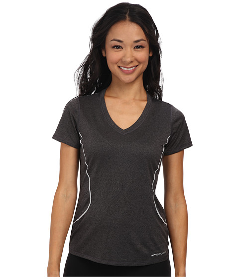 Brooks - Versatile Printed S/S III (Heather Black) Women's Short Sleeve Pullover
