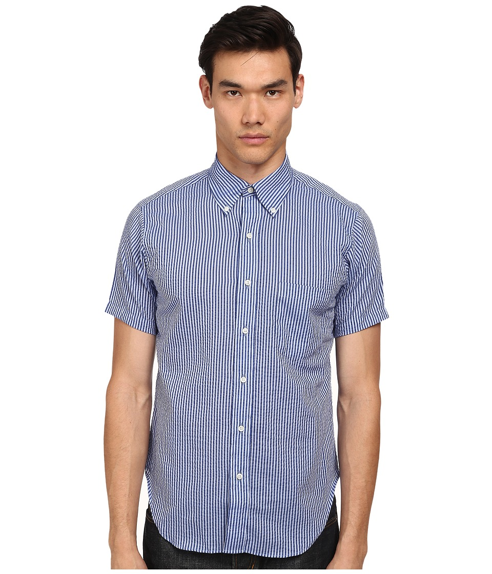 Mark McNairy New Amsterdam - Short Sleeve Seersucker Button Down (Navy Seersucker) Men's Short Sleeve Button Up