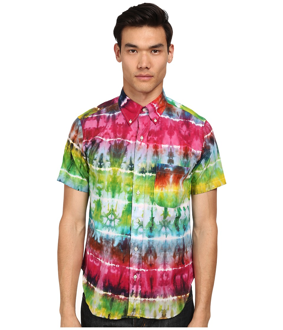 Mark McNairy New Amsterdam - Short Sleeve Tie-Dye Button Down (Rainbow Tie-Dye) Men's Short Sleeve Button Up