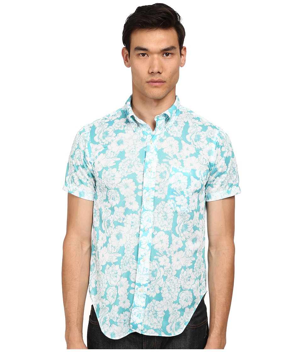 Mark McNairy New Amsterdam - Short Sleeve Floral Print Button Down (Sky Floral) Men