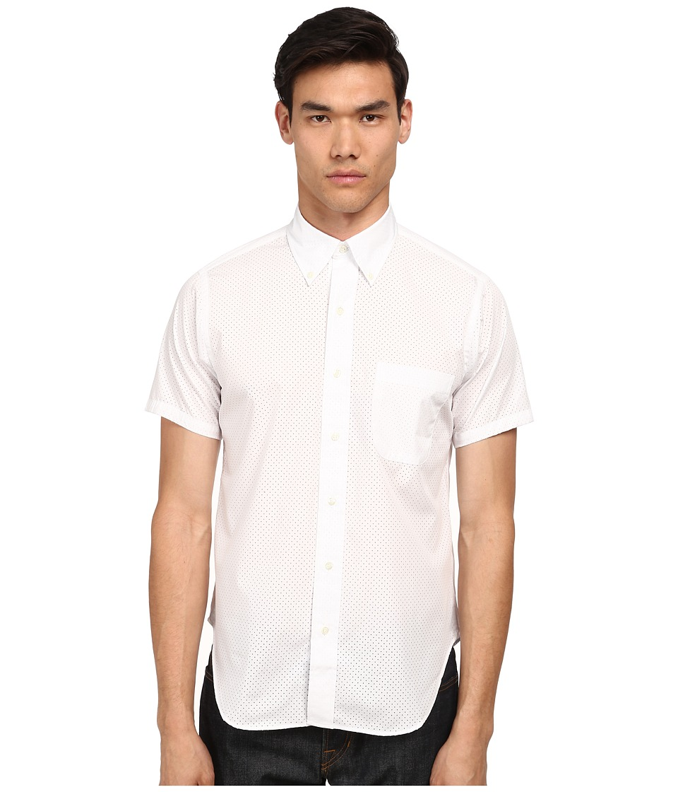 Mark McNairy New Amsterdam - Short Sleeve Perforated Button Down (White) Men's Short Sleeve Button Up