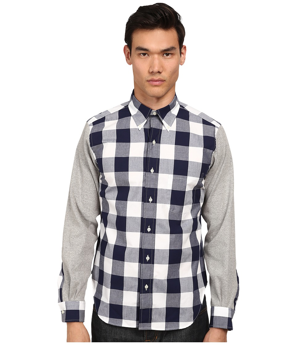 Mark McNairy New Amsterdam - Long Sleeve Contrast Sleeve Button Down (Navy Gingham/Heather Grey) Men