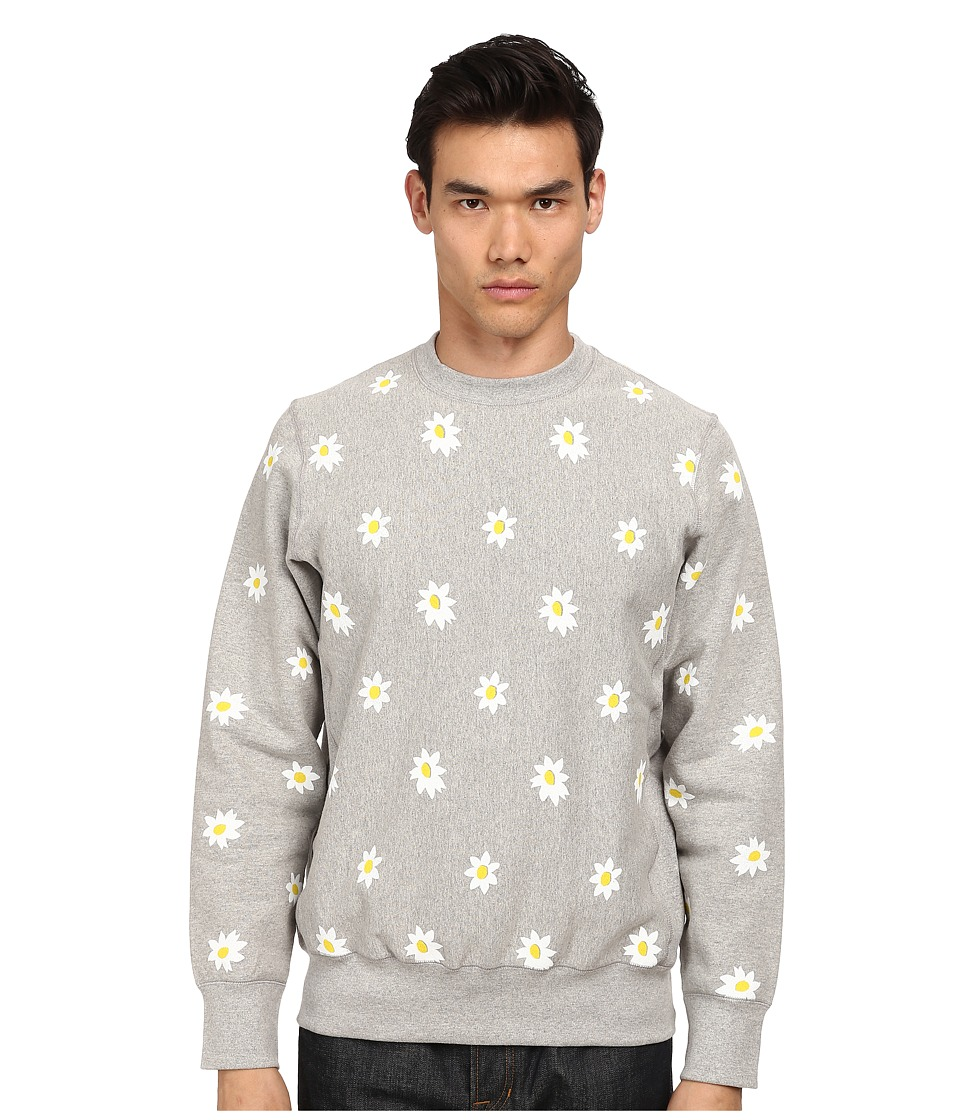 Mark McNairy New Amsterdam - Daisy Print Crew Neck Sweatshirt (Heather Grey/Daisy) Men