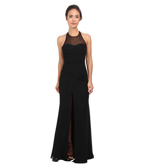 Faviana - Chiffon Plain High Neck Dress 7583 (Black) Women