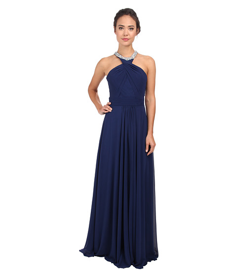 Faviana - Chiffon Jewel Neck Beaded Trim Dress 7520 (Navy) Women