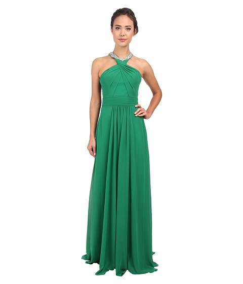Faviana - Chiffon Jewel Neck Beaded Trim Dress 7520 (Emerald) Women