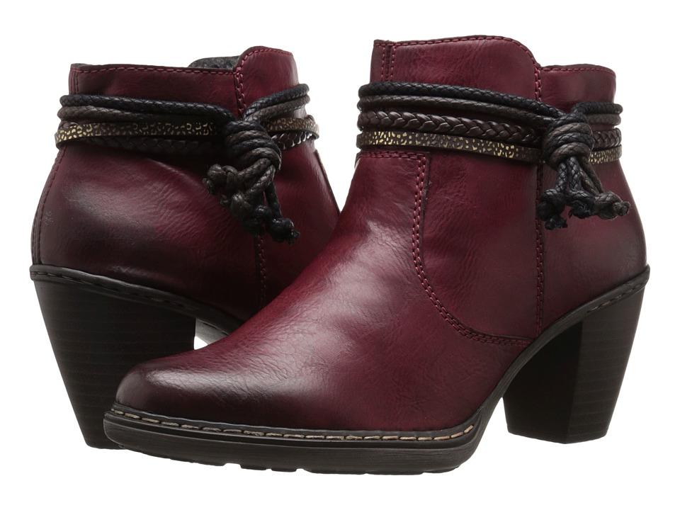Rieker - 55298 (Wine Eagle/Testadimoro Woven/Moro-Gold Arabica) Women's Zip Boots