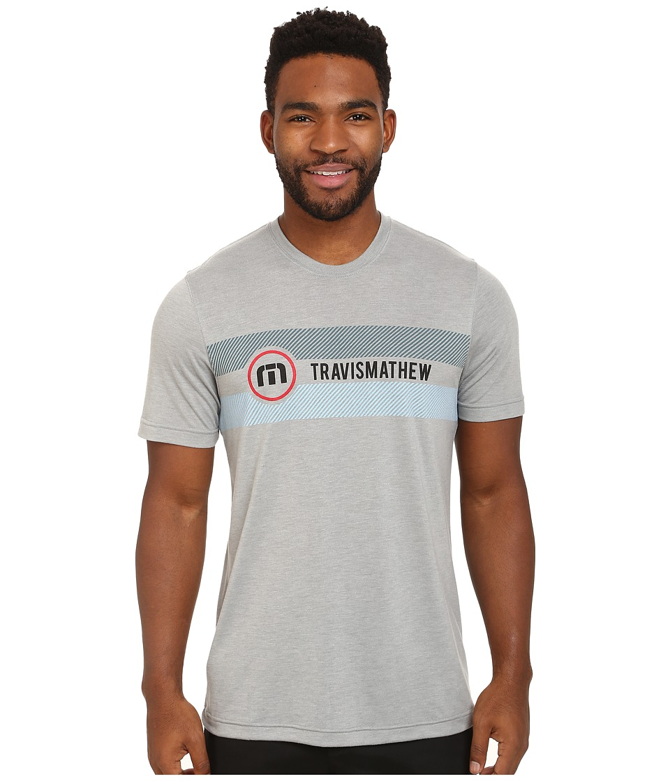 TravisMathew - RED Yanker Crew T-Shirt (Heather Griffin) Men's T Shirt