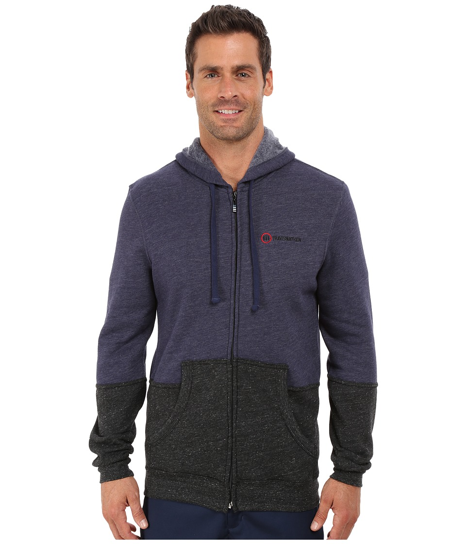 TravisMathew - RED Chapin Jacket (Heather Vintage Indigo) Men's Sweatshirt