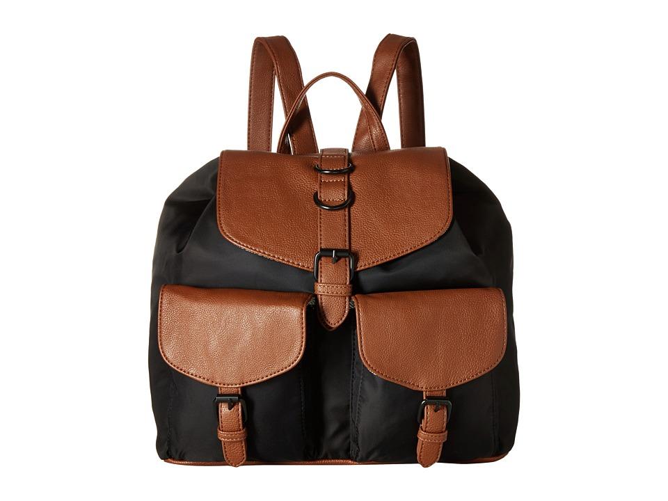 Steve Madden - Bbaxter Nylon/Pebble Backpack Flap Front Pockets (Black/Cognac) Backpack Bags