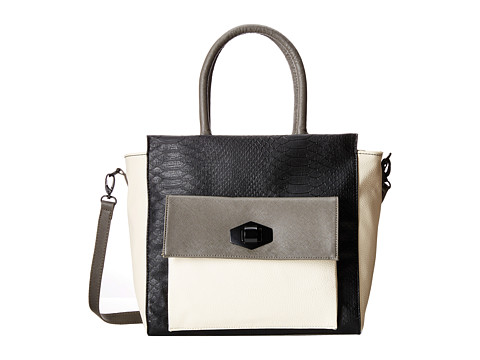 Steve Madden - Berin Wing Tote w/ Lock w/ Tripble Color Block w/ Front Pocket (Black Multi) Tote Handbags