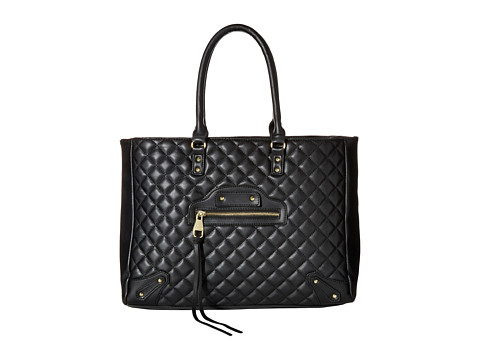 Steve Madden - Bfancy Quilted Lamb Tote w/ Stud/Zip Front Detail (Black) Tote Handbags