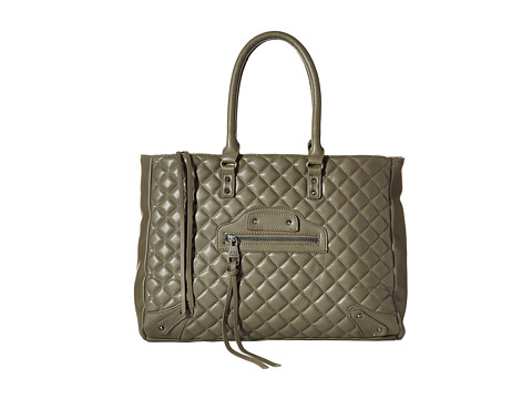Steve Madden - Bfancy Quilted Lamb Tote w/ Stud/Zip Front Detail (Grey) Tote Handbags