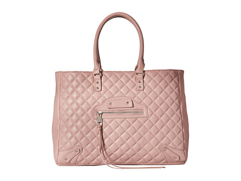Steve Madden - Bfancy Quilted Lamb Tote w/ Stud/Zip Front Detail (Mauve) Tote Handbags