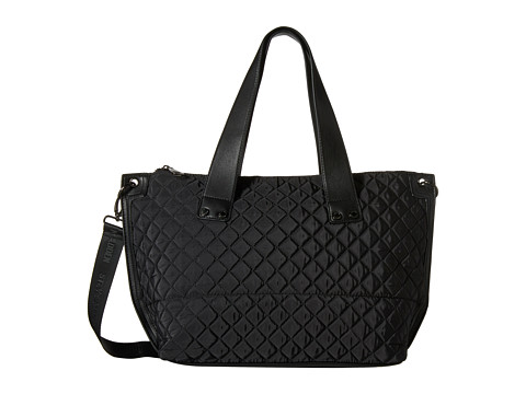 Steve Madden - Bwanderr Cire Nylon Satchel w/ Solid Quilt w/ Grommet Strap Double Handle (Black) Satchel Handbags