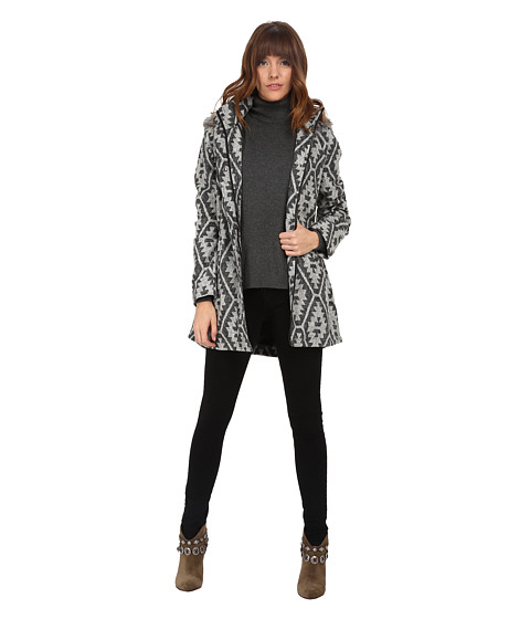 Jack by BB Dakota - Valko Jacquard and Fur Coat (Black) Women's Coat