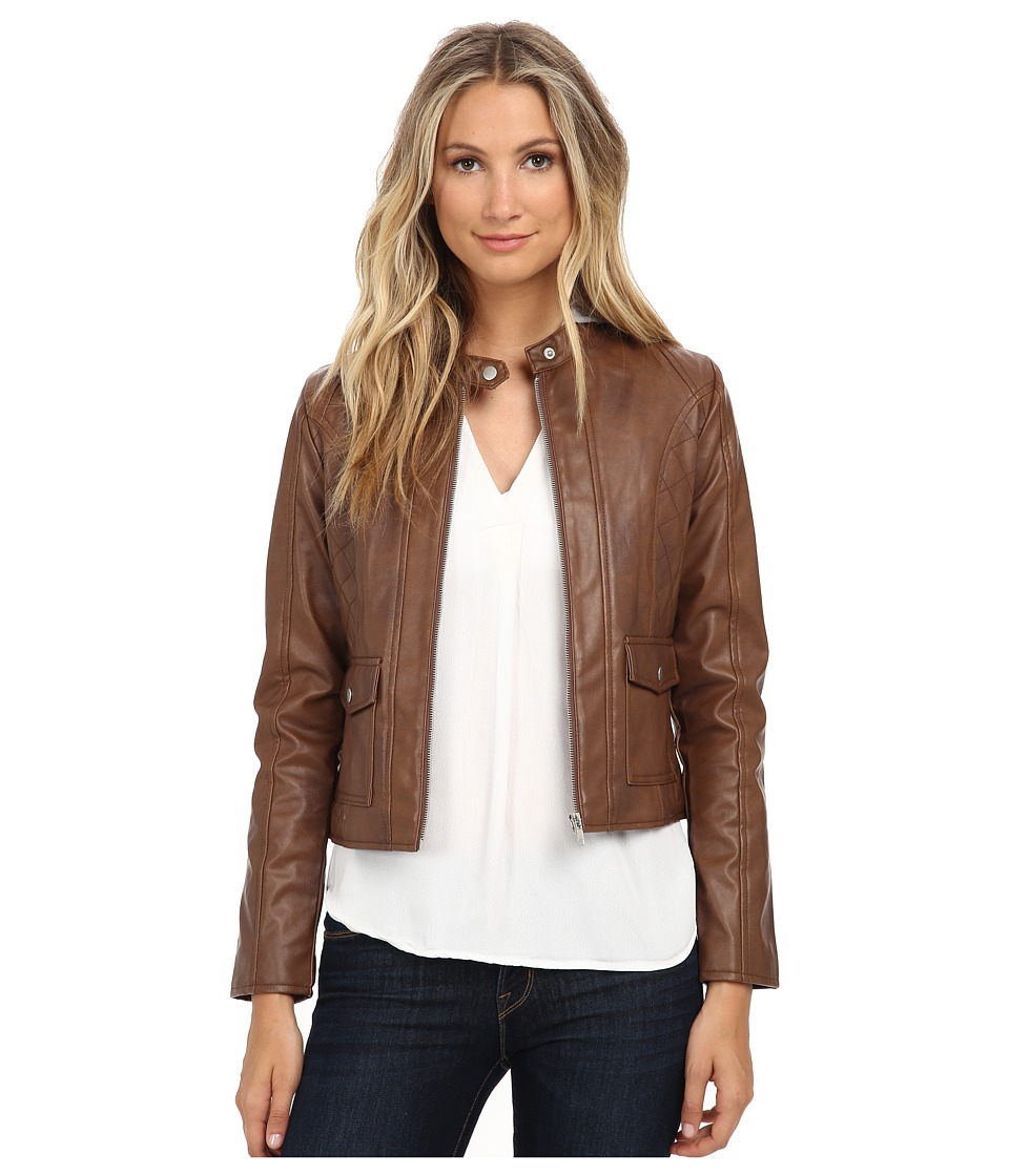 Jack by BB Dakota - Tash Two-Tone PU and French Terry Hood Jacket (Chestnut) Women's Coat