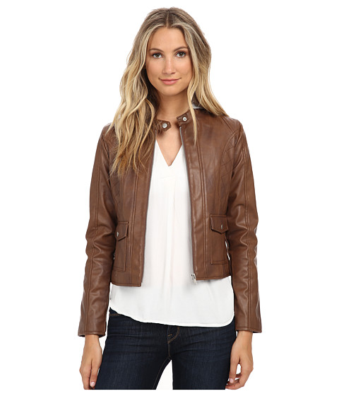 Jack by BB Dakota - Tash Two-Tone PU and French Terry Hood Jacket (Chestnut) Women