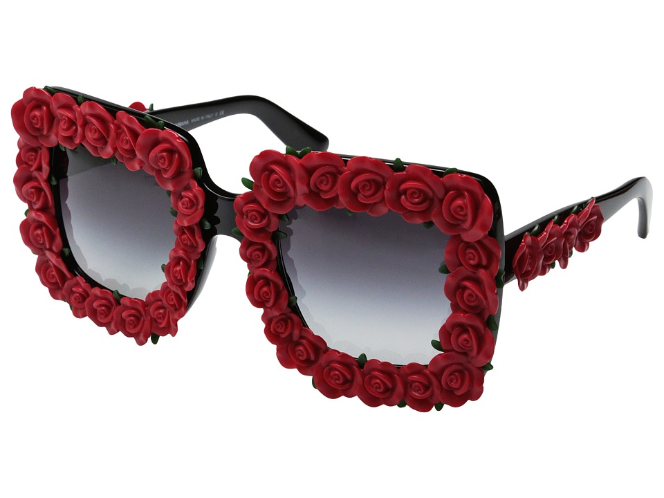 Dolce & Gabbana - DG4253 (Black/Red Roses/Grey Gradient) Fashion Sunglasses