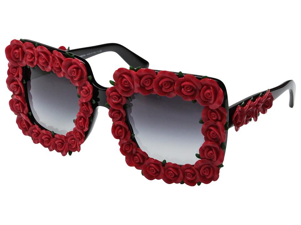 Dolce & Gabbana - DG4253 (Black/Red Roses/Grey Gradient) Fashion Sunglasses