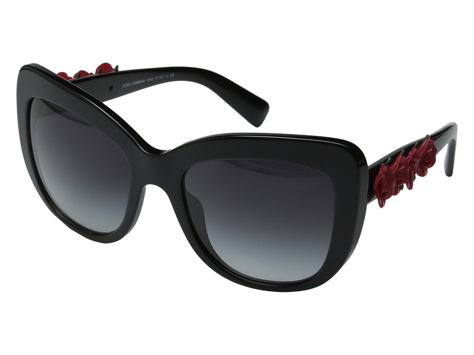 Dolce & Gabbana - DG4252 (Black/Red Roses/Grey Gradient) Fashion Sunglasses