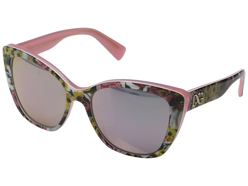 Dolce & Gabbana - DG4216 (Bouquet Print on Pink/Pink Mirror) Fashion Sunglasses