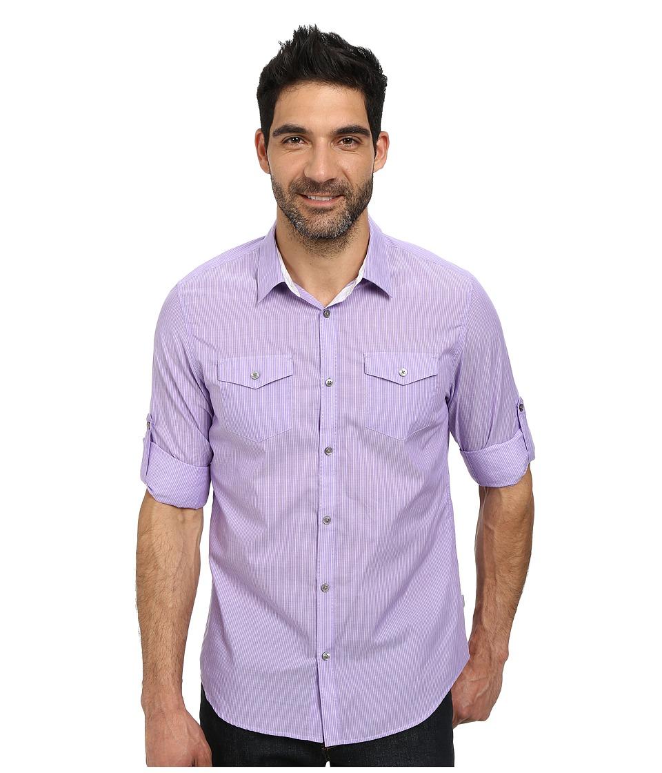 Calvin Klein - Stripe Voille Roll-Up Woven Shirt (Jacaranda) Men's Long Sleeve Button Up