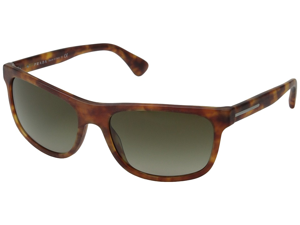 Prada - PR 15RS (Matte Brushed Light Havana/Brown Gradient) Fashion Sunglasses